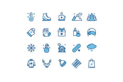 Winter Holiday Thin Line Icon Set. Vector
