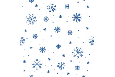 Winter Snowflake Seamless Pattern Background. Vector