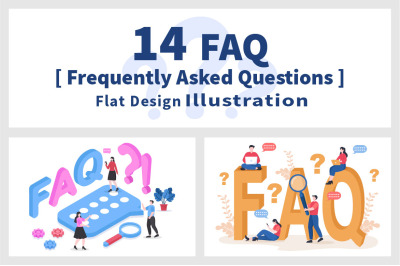 14 FAQ or Frequently Asked Questions Illustration