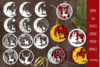 Christmas decorations with deer. File to cut