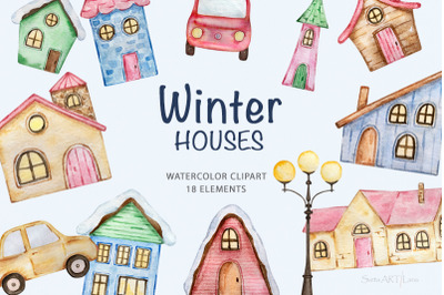 Watercolor Winter Houses Clipart