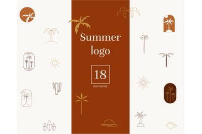 Summer logo, tropical design, boho branding, Logo elements
