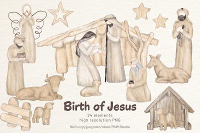 Religious Christmas Boho Clipart  Nativity Watercolor Clipart