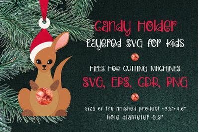 Kangaroo Christmas Ornament Candy Holder Template SVG