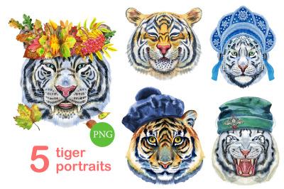 Cute watercolor tigers. Part 2