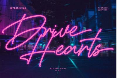 Drive Hearts Signature Script Font