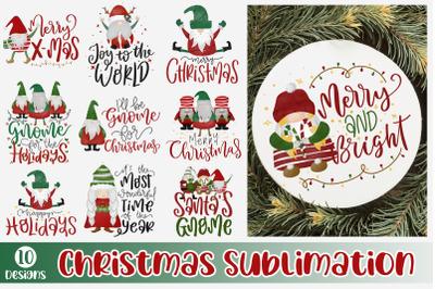 Christmas Sublimation Bundle Gnome Quote PNG