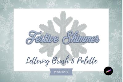 Festive Shimmer Lettering Brush for Procreate & Palette