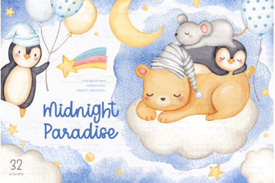 Midnight Paradise Watercolor Clipart