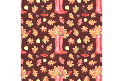Autumn walk watercolor seamless pattern. Leaf fall. Red rubber boots