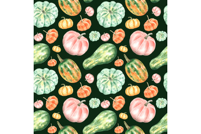 Pumpkin, squash watercolor seamless pattern. Thanksgiving. Farmer