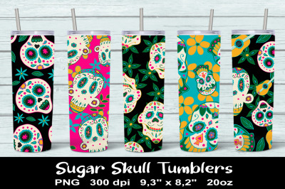 Skull 20 oz Skinny Tumbler Sublimation PNG Designs. Day of the Dead.