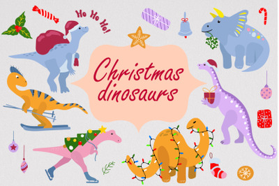 Christmas dinosaurs SVG