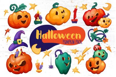 Cute Halloween Pumpkins Clipart And BONUS