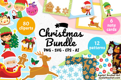Christmas Bundle - Santa Clause, elves, kawaii characters, patterns an