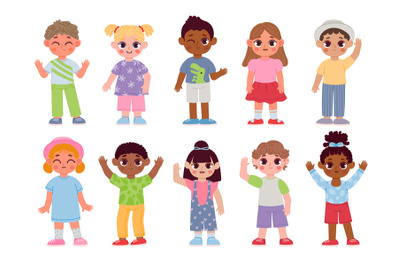 Happy diverse kids characters waving hands and greeting. Cartoon child
