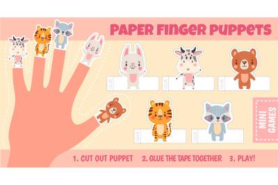 Paper animal finger puppets worksheets for kids hand. Handmade theatre