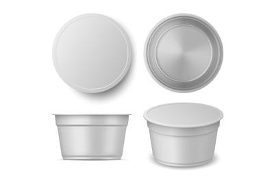 Realistic yogurt or ice cream container cup mockup views. Blank plasti