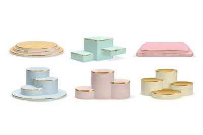 Realistic golden podiums, cylinder pedestals and display platforms. Lu