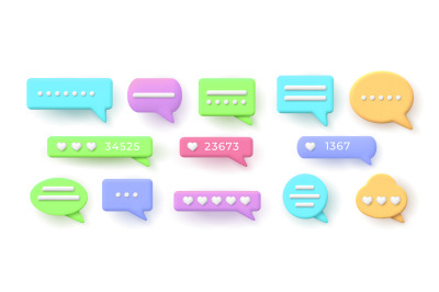 3d speech bubbles for chat messages and like button. Balloon with soci