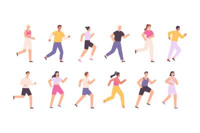 Cartoon athlete characters jogging, running marathon or race. Runners