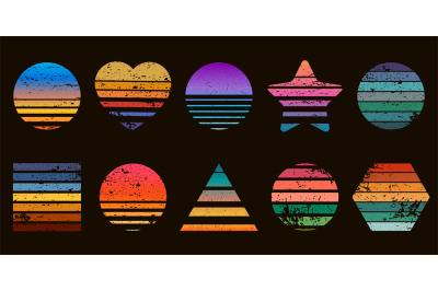 Retro striped sunset prints in heart, star and circle shapes. 80s t-sh