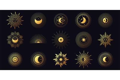Moon, sun and stars, celestial boho line elements. Chic golden mystic