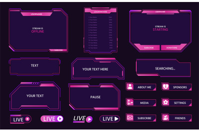 Live stream interface overlay frames for gamer broadcast. Cyber hud sc