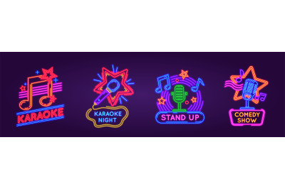 Neon signs for karaoke club and stand up comedy show. Music and song s