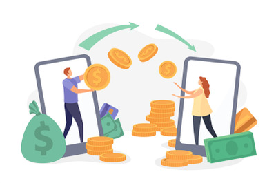 Flat characters transfer money with smartphone wallet app. Instant pay