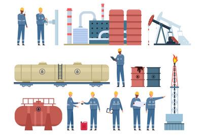 Flat oil engineer workers and gas industry buildings. Petroleum rig, r