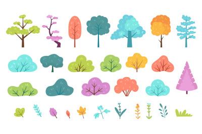 Flat minimal bush, shrub, tree, grass, wild plant and flower. Cartoon