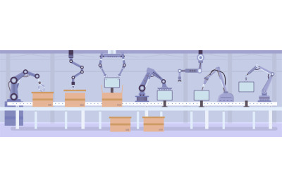 Flat automated robot arms on factory assembly line. Manufacture convey