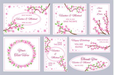Wedding invitations and greeting cards with sakura blossom flowers. Ja