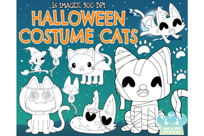 Halloween Costume Cats Digital Stamps - Lime and Kiwi Designs