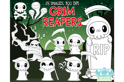 Grim Reapers Digital Stamps - Lime and Kiwi Designs