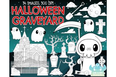 Halloween Graveyard Digital Stamps - Lime and Kiwi Designs