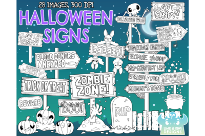 Halloween Signs Digital Stamps - Lime and Kiwi Designs