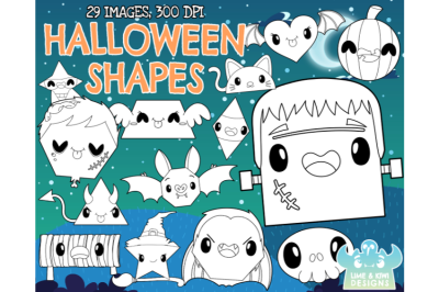 Halloween Shapes Digital Stamps - Lime and Kiwi Designs