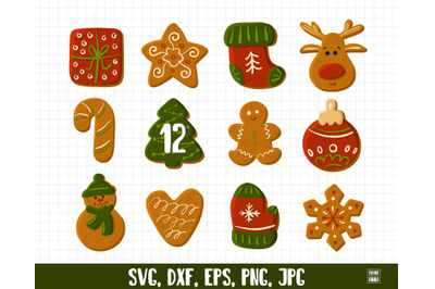 Merry Christmas cookies vector clipart
