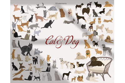 dogs and cats, favorite pets, vector animals, kittens and puppies