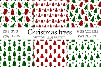 Christmas trees pattern. Christmas tree Buffalo plaid SVG