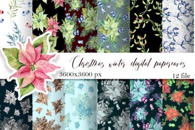 Christmas Digital Paper Patterns, Poinsettia Seamless Patter