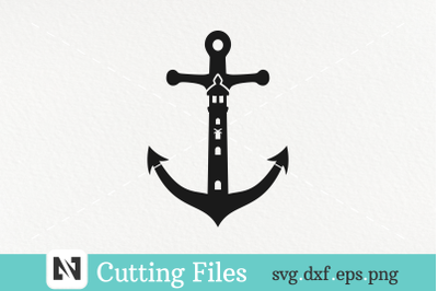 An Anchor and Lighthouse Svg Vector File - Anchor Svg