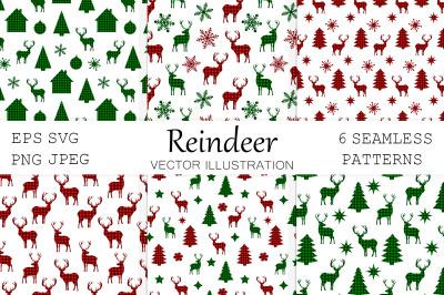 Reindeer pattern. Reindeer buffalo plaid. Reindeer SVG