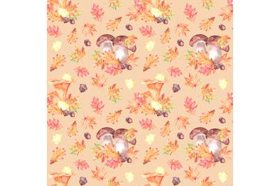 Mushroom harvest watercolor seamless pattern. Fall, Thanksgiving.