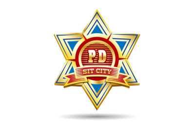 Police Golden Badge Emblem