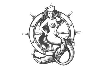 Beauty Mermaid and Steering Wheel Tattoo