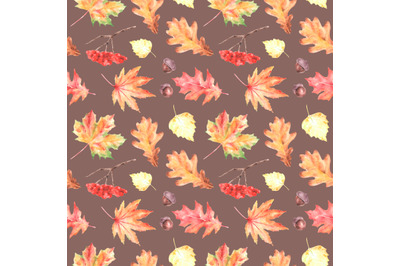 Leaf fall watercolor seamless pattern. Autumn forest.