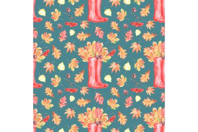 Fall watercolor seamless pattern. Leaf fall, farm, rubber boots